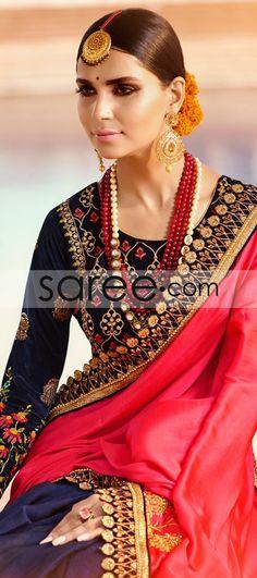 PINK AND BLUE SILK SAREE WITH RESHAM EMBROIDERY WORK #Saree #GeorgetteSarees #IndianSaree #Sarees #SilkSarees #PartywearSarees #RegularwearSarees #officeWearSarees #WeddingSarees #BuyOnline #OnlieSarees #NetSarees #ChiffonSarees #DesignerSarees #SareeFashion