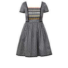 Orla Kiely: Short sleeve dress in cotton blend fabric in 'Come Fly with Me' print. This cute summer dress has a fitted bodice with grosgrain ribbon detailing at front. Cut out section at back with strap and buttons to fasten. Full gathered skirt section.         Length: 34.2in