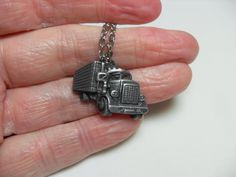 Pewter trucker pendant with silver chain, silver tone chain, gift for him, big…