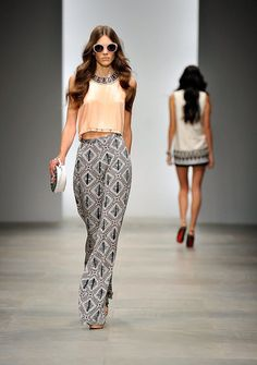 I want to wear patterned palazzo pants, not too full, in southern Florida.