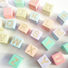 We these wooden pastel letter blocks. Vintage inspired toys never get old @ Wooden Blocks Toys, Making Wooden Toys, Wooden Baby Toys, Wood Toys, Pastel Nursery, Rainbow Nursery, Toys For Girls, Wood Block Crafts, Diy Baby