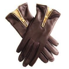 Dark Brown and Gold Trimmed Leather Gloves