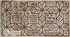 Inventory No : 848 Decorated with geometrical patterns, this mosaic depicts, on the left, Medusa, who has serpents instead of hair and turns onlookers to stone. Solomon's knot sits in the middle of the mosaic which has a three-dimensional geometrical motif on the right.