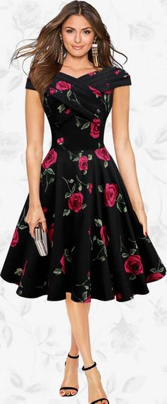 Retro A-Line Roses Print Short-Sleeved Dress