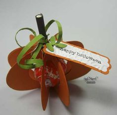 Pumpkin Treats: candy pops inside a paper pumpkin from SandyStamper