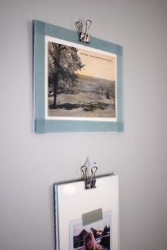 Love the fact that you use binder clips to hang these! Cheap and easy!