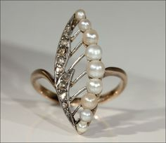 Antique Rose Cut Diamond and Pearl Lily of the Valley Ring from vsterling on Ruby Lane