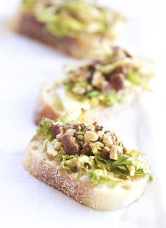 Maple Glazed Brussels Sprout Bruschetta Topped with Candies Pecans