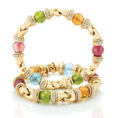 Pair of Gold, Colored Stone Bead and Diamond Bracelets, Bulgari  18 kt., composed of 12 faceted blue topaz, rubellite, citrine, peridot and pink tourmaline beads, approximately 9.4 mm., joined by stylized polished gold claw links, flanked by slender bands of 220 round diamonds approximately 4.40 cts., signed Bulgari, originally a necklace.