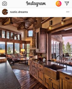 Style At Home, Chalet Design, House Design, Cabin Design, Log Cabin Homes, Log Cabin Kitchens, House Goals, Home Fashion, Kids Fashion
