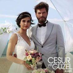 Kivanc Tatlitug & Tuba Buyukustun in Cesur ve Guzel Bridal Hijab, Hijab Wedding Dresses, Bridal Dresses, Mejores Series Tv, Pelo Pixie, Hijab Fashionista, Actrices Hollywood, Turkish Beauty, Hot Actors