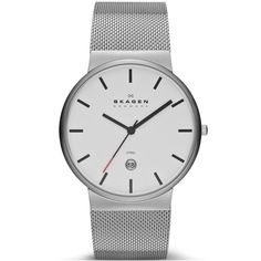 NEW Skagen Ancher Silver Stainless Steel White Date Dial Mesh Mens Watch SKW6052 | eBay