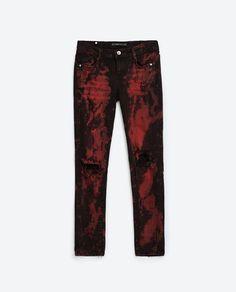 Red splatter pattern jeans