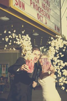 Popcorn in your face! Movie Theater Wedding, Broadway Wedding, Cinema Wedding, Wedding Movies, Hollywood Wedding, Wedding Themes, Wedding Pictures, Wedding Styles, Our Wedding