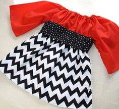 Black and Red Chevron Peasant Dress - Holiday Chevron Dress for Christmas - MADE TO ORDER