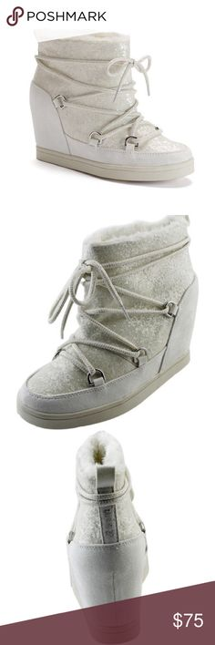 20b9906bf1ff JUICY COUTURE White Bling LaceUp Wedge Ankle Boots NWT JUICY COUTURE White  bling glitter lace-up hidden wedge ankle boots will give you Juicy style for  the ...