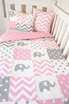 Patchwork quilt nursery set Pink and grey elephants by MamaAndCub