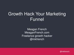 Optimizing your marketing funnel with Growth Hacking Tactics (SLIDESHARE) Content Marketing, Social Media Marketing, Growth Hacking, Competitor Analysis, Book Recommendations, Awesome, Books, Inspiration, Biblical Inspiration