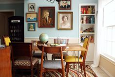 eclectic interior: mismatched chairs