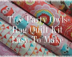 Tree Party, Owls, Rag Quilt Kit,  Easy to Make, Personalized
