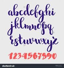 Brush style vector script alphabet calligraphy low case letters and figures… Brush Calligraphy Alphabet, Lettering Brush, Caligraphy Alphabet, Calligraphy Worksheet, How To Write Calligraphy, Hand Lettering Fonts, Doodle Lettering, Lettering Styles, Typography Letters