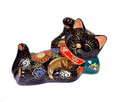 Kutani Ware Maneki Neko Makura Neko Kuromori Made in Japan | eBay