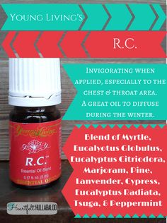 Young Living's R.C. Invigorating when applied, especially to the chest and throat area.  A great oil to diffuse during the winter.  #essentialoils #undertwentydollars #heartfelthullabaloo