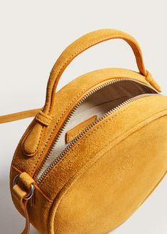 Leather bag, mustard yellow suede round bag, round small shoulder bag in mustard yellow ochre color Popular Handbags, Cute Handbags, Cheap Handbags, Luxury Handbags, Purses And Handbags, Luxury Purses, Trendy Handbags, Vintage Handbags, Luxury Bags