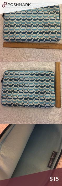 """Cute whale laptop sleeve Blue whale laptop sleeve. It is lightweight, has a little padding, and is soft on the inside. It should fit most 15"""" laptops. Really cute and fun sleeve! Accessories Laptop Cases"""