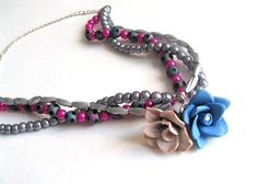 Polymer Flower Necklace  MultiStrand Necklace  Beaded by YoungLad, $16.00