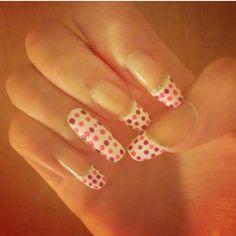 #nail #nails #nailart #pink #dots #white
