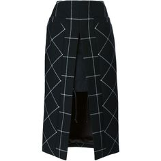 Sacai Layered Wool Checked Skirt (€585) ❤ liked on Polyvore featuring skirts, black, checkerboard skirt, high rise skirts, black high waisted skirt, sacai skirt and front slit skirt