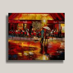 """Out at Night"" ...YARY DLUHOS  Cafe Night Rain Umbrellas Light Original IMPRESSIONISM Oil Painting #Impressionism"