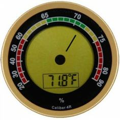 Caliber Digital Hygrometer & Thermometer by Western Humidor in Gold Cigar Accessories The newest addition in the reliable Caliber line of digital Buy Cigars, Cigars And Whiskey, Cigar Humidifier, Premium Cigars, Cigar Humidor, Cigar Accessories, Perfect Gift For Him, Digital