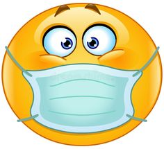 Emoticon with medical mask. Vector emoticon with medical mask over mouth ,