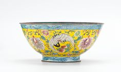 Chinese small enamel on copper bowl with qianlong mark, but probably later