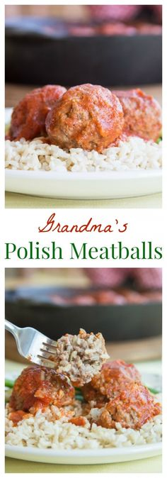 """Polish Meatballs (aka """"Porcupine Meatballs"""") - whenever my grandma made her traditional stuffed cabbage, she would take some of the savory meat filling and make these for me for Sunday supper. Meatball Recipes, Meat Recipes, Cooking Recipes, Healthy Polish Recipes, Healthy Foods, Ukrainian Recipes, Russian Recipes, Slovak Recipes, Gastronomia"""