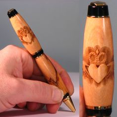 Irish Claddagh engraved hand made wood pen. Hand turned on a wood lathe from Bethlehem Olive wood, laser engraved claddagh design. Claddagh band on upper barrel. Engraved Pens, Stationary Store, Wood Lathe, Claddagh, Laser Engraving, Barrel, Handmade, Stuff To Buy, Design