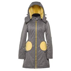 Liliputi® 4in1 Babywearing Mama Coat - Grey-Yellow Grey Yellow, Babywearing, Hand Warmers, Simple Dresses, Gray Yellow, Simple Gowns, Infant Clothing, Toddler Outfits, Baby Wearing