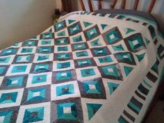 Teal and Gray Quilt NEW ~ HANDMADE~ TEAL AND GRAY QUILT~~KING SIZE MODERN FRESH QUILT #Handmade #Modern