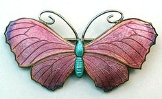 Silver and Enamel Butterfly Brooch John Atkins and Son
