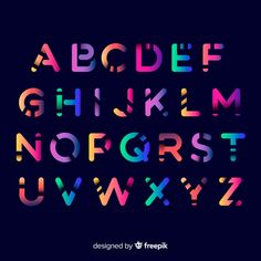 Colorful gradient alphabet template Vector   Free Download