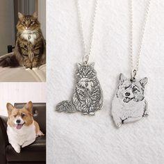 925 benutzerdefinierte Hund Portrait Halskette Pet Portrait | Etsy Picture Necklace, Dog Necklace, Engraved Necklace, Necklace Chain, Letter Pendant Necklace, Necklaces, Photo Engraving, Ring Engraving, Love Your Pet