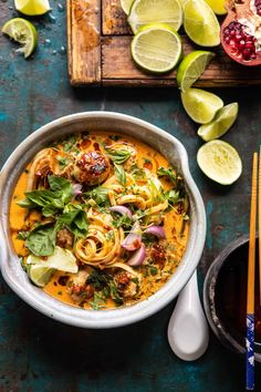 30 Minute Thai Chicken Meatball Khao Soi | halfbakedharvest.com #thai #coconut #healthy Asian Recipes, Healthy Recipes, Ethnic Recipes, Healthy Dinners, Healthy Foods, Khao Soi, Half Baked Harvest, Chicken Meatballs, Thai Chicken