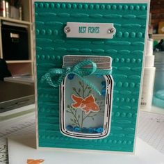 card fish goldfish fishes, mason jar SU Stampin' Up! Jar of Love, Jar of Love - Inky Memories – Independent Stampin' Up! Demonstrator and Papercrafter Fun Fold Cards, Cool Cards, Mason Jar Cards, Mason Jars, Stampin Up, Love Jar, Tarjetas Pop Up, Karten Diy, Stamping Up Cards