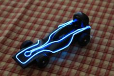 pine wood derby cars | Joshua's TRON Pinewood Derby Car (lights on)