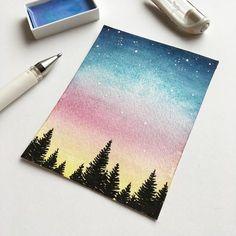 Ideas For Galaxy Art Painting Inspiration Stars Watercolor Sunset, Watercolour Painting, Painting & Drawing, Diy Painting, Sunset Art, Painting Tutorials, Galaxy Painting, Galaxy Art, Diy Galaxy