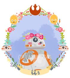 STAR WARS Rey Kylo Ren or BB8 FLORAL Print by GiuliaPrioriArt