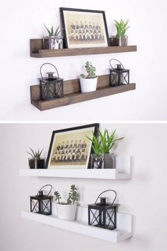 I love this floating picture ledge. Best rustic shelf ever. #rustic #shelves #pictureledge #farmhouse #floatingshelf #homedecor #commissionlink