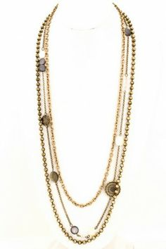 Antique textured disc and pearl charm three layer long necklace. #salediem #jewelry #gold #accessories